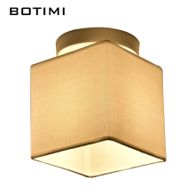 BOTIMI Janpaness Fabric Ceiling Lamp With Square Lampshade Lamparas de techo Cloth Surface Mount Corridor Lighting Fixtures