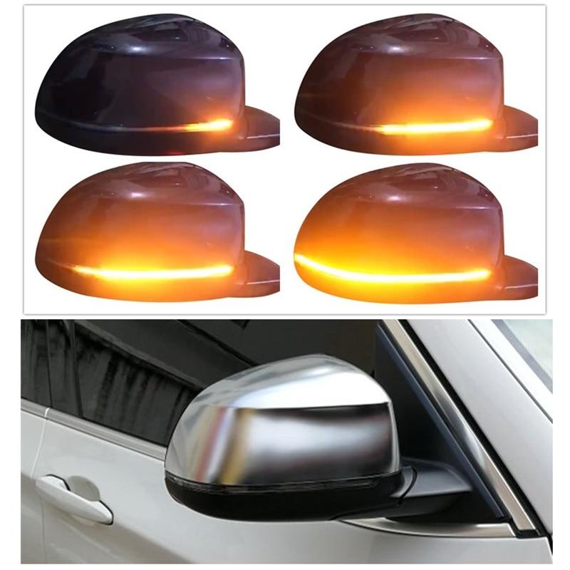 Dynamic LED Blinker Indicator Matt Chromed Mirror Cover Suitable for BMW X3 F25 X4 F26 X5