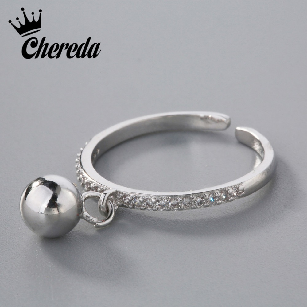 Chereda Silver Ball Charm Ring Stamp White CZ Crystal Paved Wedding Band Infinity Accessaries