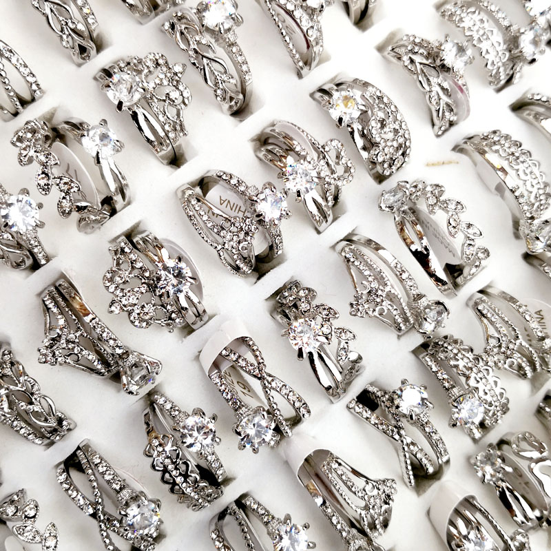 10Pcs Women's Rings New Design Mixed Styles Gold and SilverZircon Wholesale Rings Lots Female Jewelry Bulks Lot LR4161 6