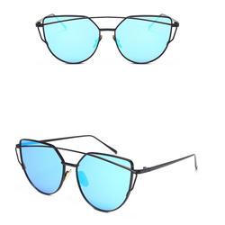 Twin-ПУЧКОВ классический Для женщин металлический каркас зеркало солнцезащитные очки кошачий глаз очки Открытый Спортивные очки