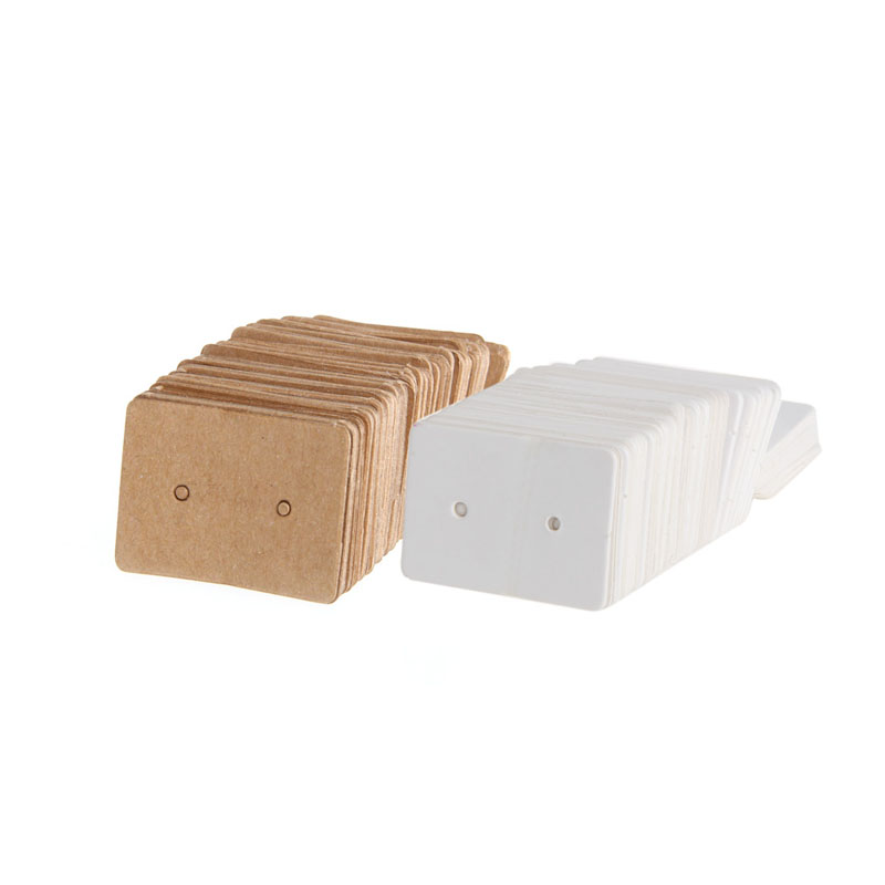 100Pcs Blank Earrings Ear Studs Display Card Hanging Tags Kraft Paper Jewelry Display Stand Holder Jewelry Organizer