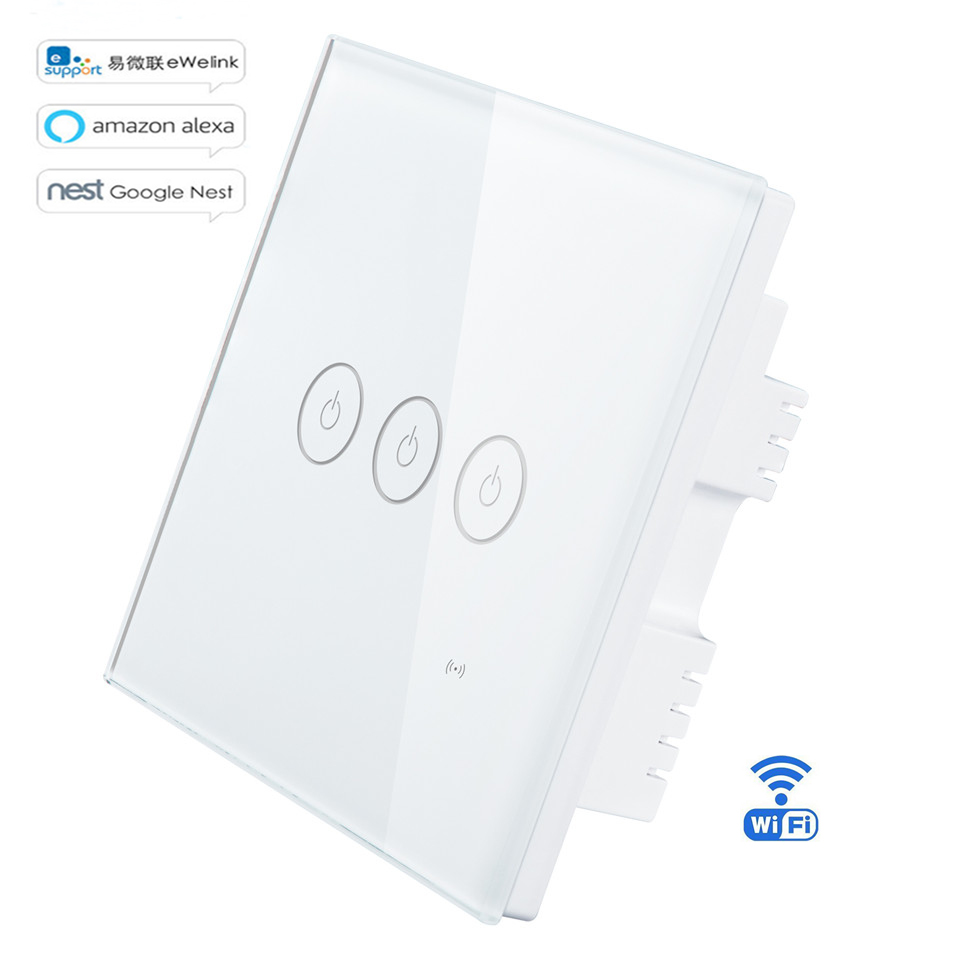 US $15 55 30% OFF|Eruiklink Ewelink APP/ Wifi / Touch Smart Switch UK Type  1 2 3 Gang Wireless Wall Touch Panel Switch Timing Light Switch Alexa-in