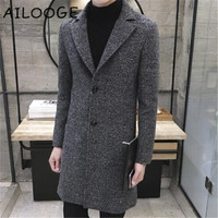 2018 Large Size Wool Blend Autumn Woolen Winter Warm Jacket Cashmere Tweed Down Coat Fashion Long Overcoat