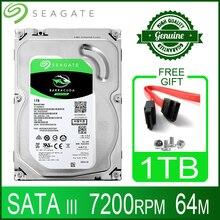 """Seagate 1 테라바이트 하드 드라이브 디스크 hdd 데스크탑 내부 hd 1000 gb 1 t 하드 디스크 7200 rpm 64 m 3.5 """"6 기가바이트/초 캐시 sata iii for pc 컴퓨터"""