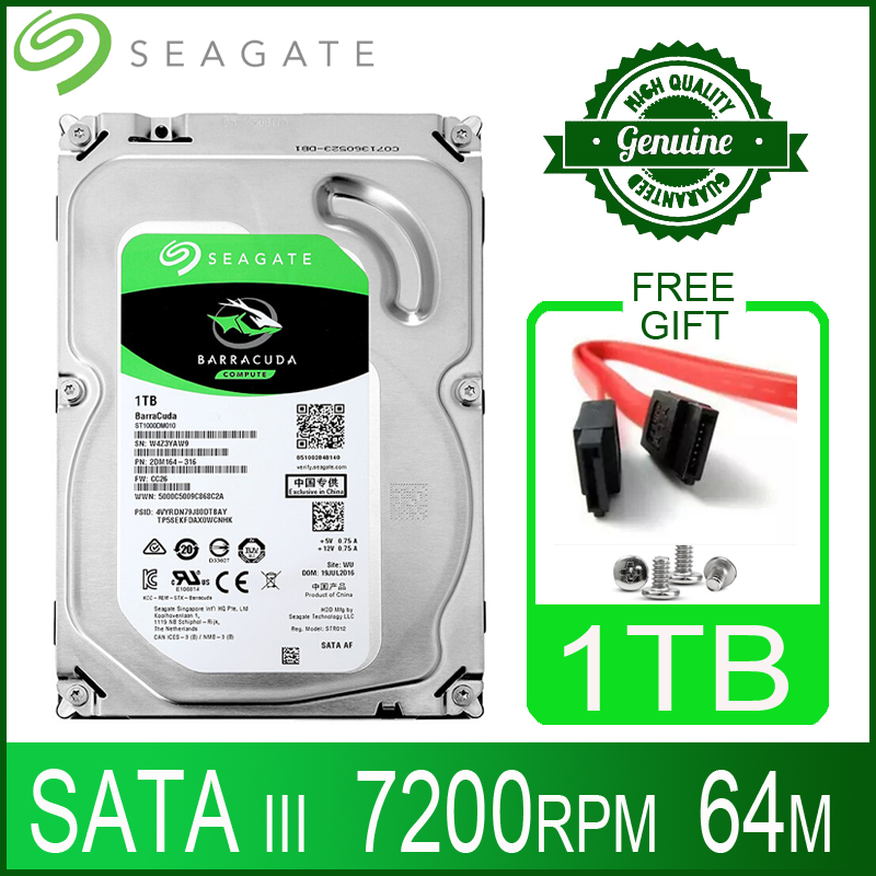 "Seagate 1tb disco rígido hdd desktop interno hd 1000 gb 1t disco rígido 7200 rpm 64 m 3.5 ""6 gb/s cache sata iii para computador pc"