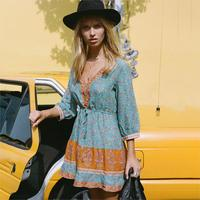 Gypsy Wisteria Floral Print Boho Mini Dress Women V neck Single Breasted Button 3/4 Sleeve Dress 2018 Summer Autumn Short Dress