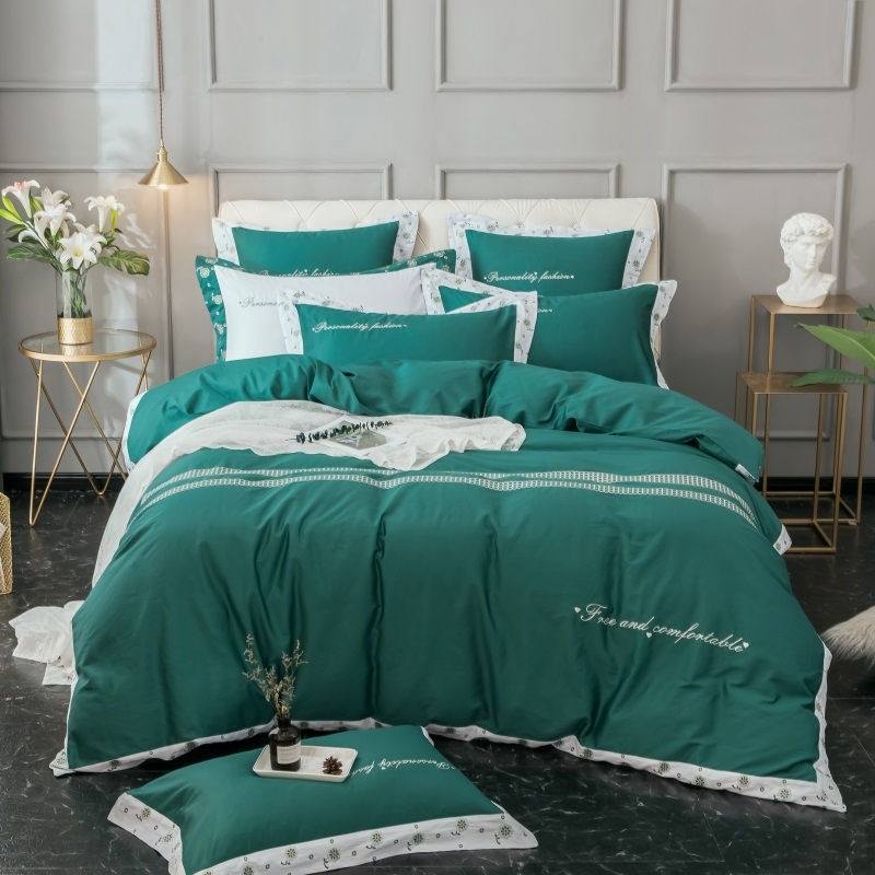 4/6Pcs Green White Color Stain Luxury Bedding set King Queen size Bed set Egyptian Cotton Duvet cover Bed sheet set pillowcase4/6Pcs Green White Color Stain Luxury Bedding set King Queen size Bed set Egyptian Cotton Duvet cover Bed sheet set pillowcase