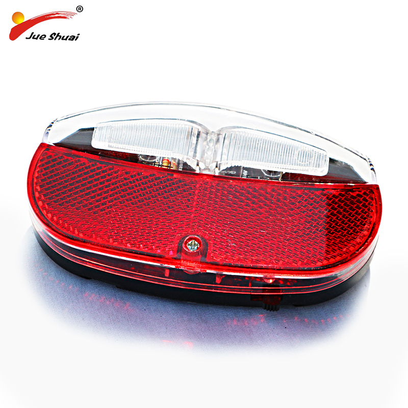 JS High Quality Bicycle Rear Light LED Lamp Mount Bike Rack Red Accessory With Switch Battery Power Flashlight  Bikes Lighting