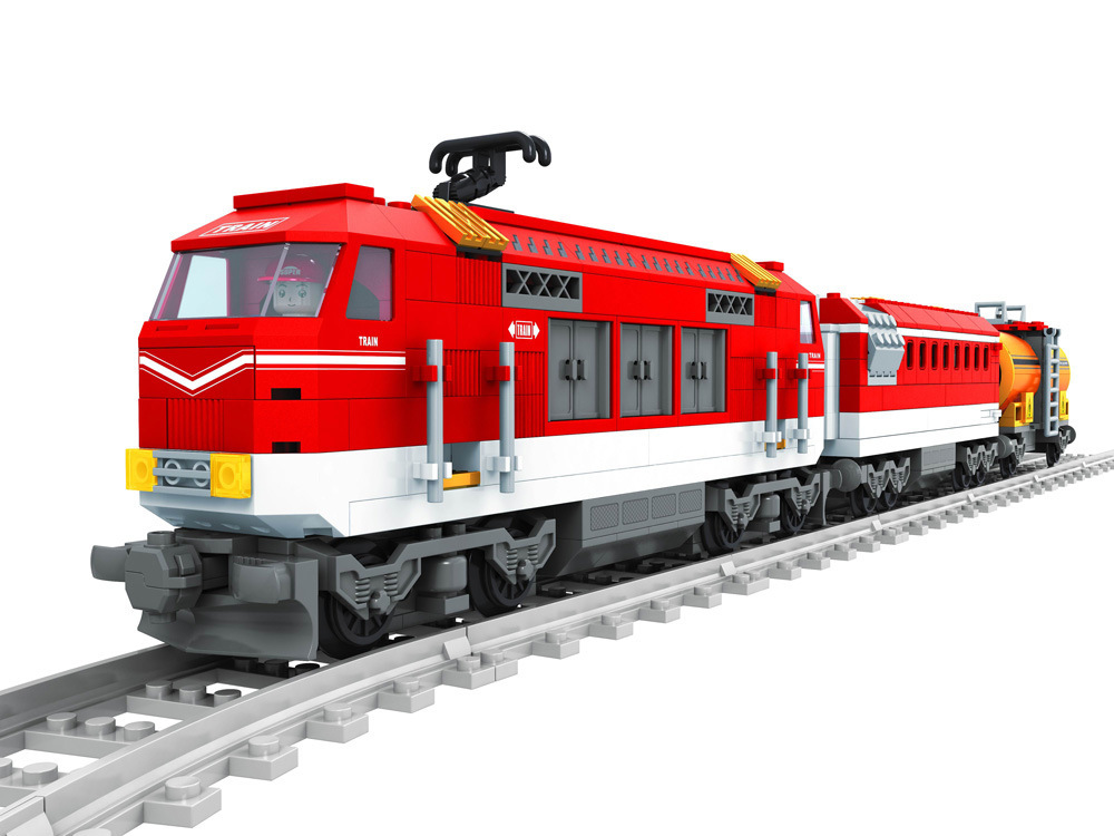 Model building kits compatible with lego city Transportation Track Train 1041 3D blocks Educational toys hobbies for children