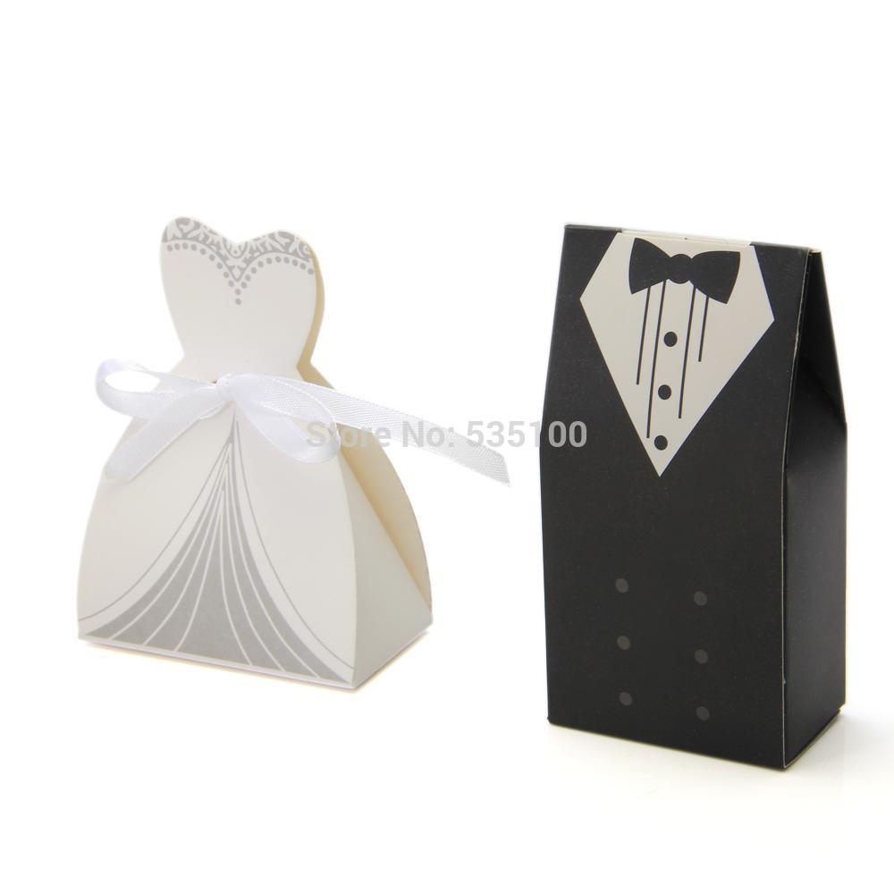 100pcs Bride And Groom Wedding Favor Boxes Candy Gift Box Packaging ...