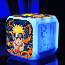 Naruto 7 Colors Change Digital Thermometer Night Led Clock