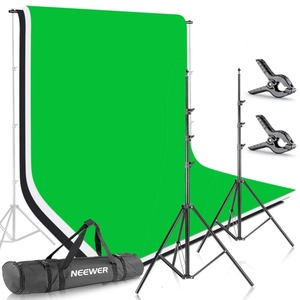Neewer 6.5x9.8ft/2x3M Background Stand green screen Backdrop Support System and 1.8x2.8M Muslin Backdrop Clamps and Carrying Bag