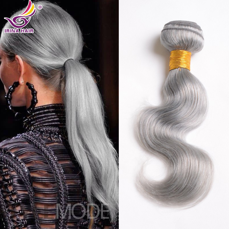 Grey Human Hair Extensions Remy Indian Hair