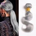 7A brasileño de la virgen onda del cuerpo del pelo Platinum Grey 3 unids Lot 10 - 24 pulgadas gris paquetes armadura del pelo humano de plata extensiones de cabello gris