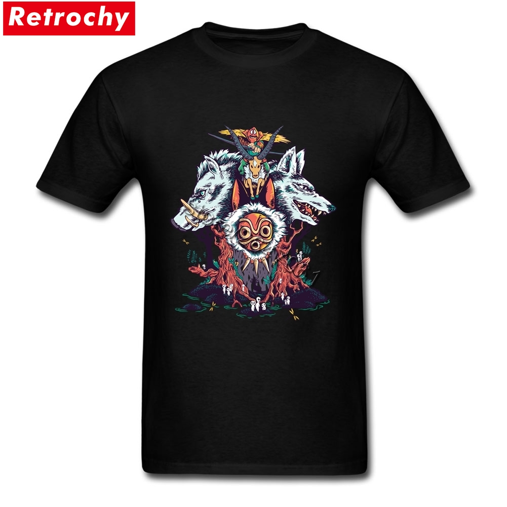 The Wolf PrincessT-  shirts   Mens Short Sleeves Organic Cotton Anime Princess mononoke   T     Shirt   Guy Custom Printed Tees