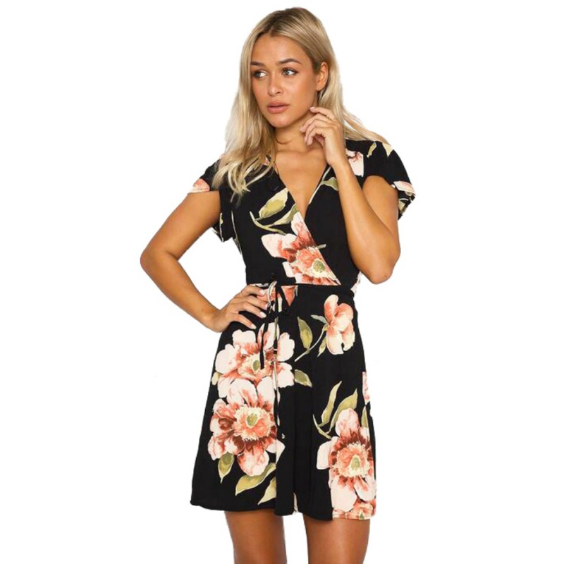 Summer Floral Printed Drapped Mini Dress Women Sexy Boho Style Deep V Neck Cape Short Sleeve Casual Dress