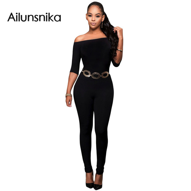 2017 Autumn New Fashion Romper Women Three Quarter Sleeve Off the Shoulder Bardot Neckline Fashion Long Jumpsuit DL64193