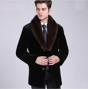 Big V collar faux mink leather jacket mens jackets winter thicken warm fur leather coat men casual clothes jaqueta de couro autumn faux mink leather jacket mens winter thicken warm fur leather coat men slim jackets jaqueta couro fashion big fur collar