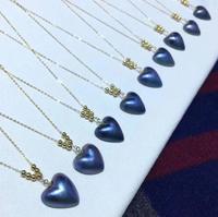 Trasporto libero Naturale 14*14mm Maba perla pendente del Cuore della collana 18 k oro massiccio