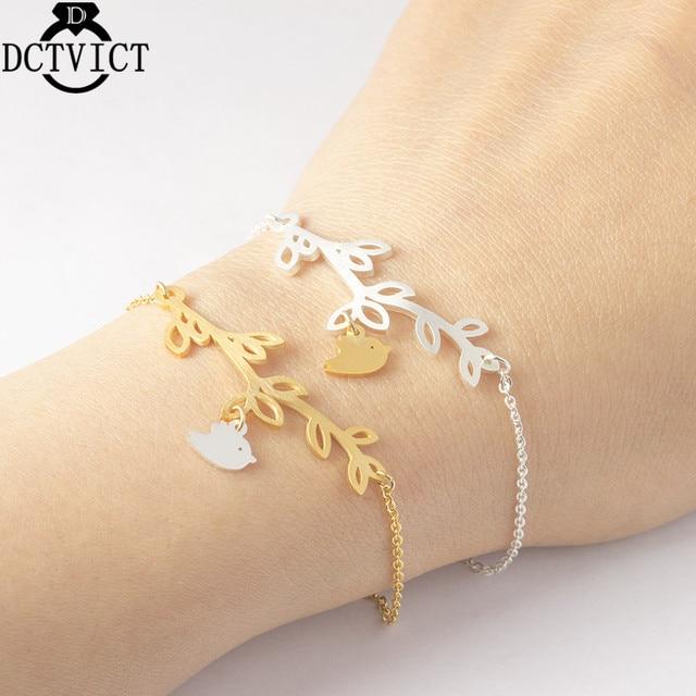 Vintage Pulseras Mujer Gold Branch Bird Bracelet For Women Kids Stainless Steel Chains Bracelet Femme Bohemian Jewelry B