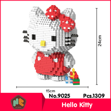 HC9025 1309Pcs Lovely Hello Kitty Series Without Original Box Building Blocks Diamond Bricks Toys Compatible With LOZ