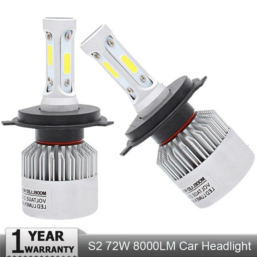 Muxall Super bright Auto Car H8 H11 H7 H4 H1 LED Headlights 6500K Cool white 72W 8000LM COB Bulbs Diodes Automobiles Parts Lamp
