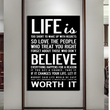 wall Art HD print 1 piece canvas art quotes home decoration Painting Life is Worth Believe it Print Poster