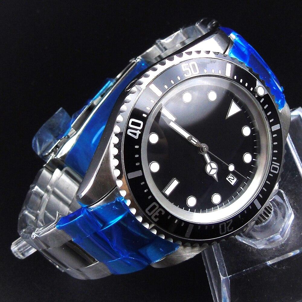 42mm Parnis Black dial black Bezel Automatic Self-Wind Mechanical watches Luminous Men's Watch цена и фото