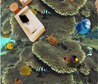 Custom 3d Underwater world tropical fish flooring bathroom 3d stereoscopic wallpaper waterproof flooring for bathrooms