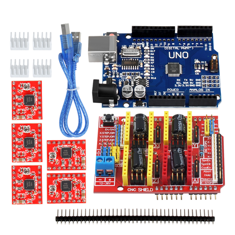 3d Printer Motherboard Kit A4988 Driver CNC Shield Expansion Board +UNO R3 CH340+a4988/8825 Driver