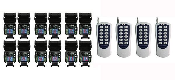DC 12V 1CH RF Wireless Remote Control Switch System Transmitter+Receiver,315/433 MHZ /lamp/ window/Garage Doors dc 12v 1 ch switch 1ch rf wireless remote control switch system 315 433 mhz 2 transmitter and 1 receiver