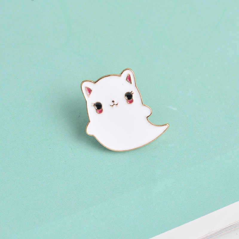 Mode Cartton blanc chaton émail broche mignon femmes revers col épingles chat de compagnie blanc fantôme spectre broches