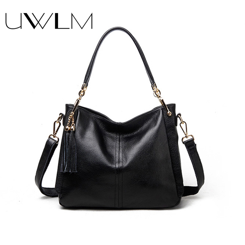Women Handbags Genuine Leather Top Handle Tassels Shoulder Casual Tote Hobos Bags Handbags Women Famous Brands High Capacity Bag mliizykki lace flower handbags women shoulder bag spring casual hobos tote