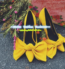 10cm Fashion Women Thin High Heel Shoes Bright Yellow Pointed Toe Big Bowtie Knot Pumps Zapato De Tacon Alto Party