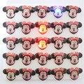 25 unids/lote ratón de dibujos animados led insignia minnie intermitentes broche, minnie Mouse fiesta de luz, niños decoración del partido