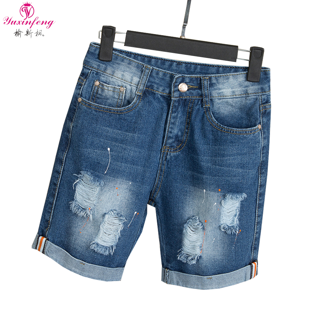 Yuxinfeng 5XL Big Size Shorts Denim Women Summer Holes Jean Ripped Shorts Female Mid Waist Pockets Blue Feminino Short Pants