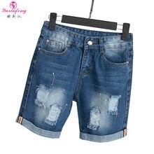 Yuxinfeng 5XL Big Size Shorts Denim Women Summer Holes Jean Ripped Shorts Female