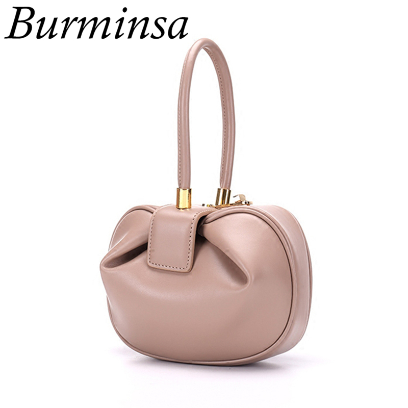 Burminsa Elegant Spherical Cow Genuine Leather Bags Women Small Designer Handbags High Quality Luxury Ladies Tote