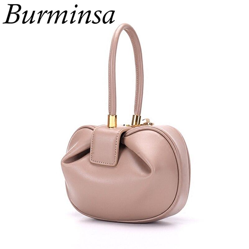 Burminsa élégant sphérique vache en cuir véritable sacs femmes petit Designer sacs à main de haute qualité de luxe dames fourre-tout 2019 nouveau