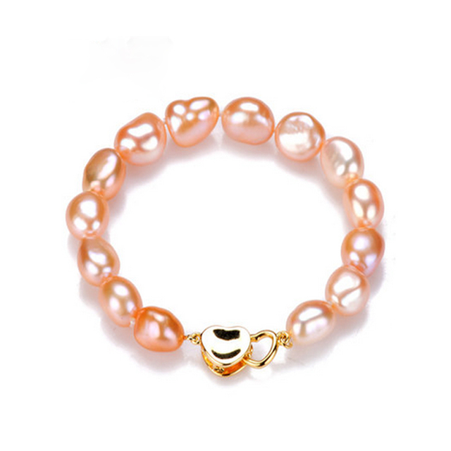 2016 New Fashion 100% Natural Freshwater Pearl Bracelet 9-10 mm pearl gold plated For Women Best Gifts Free Shipping
