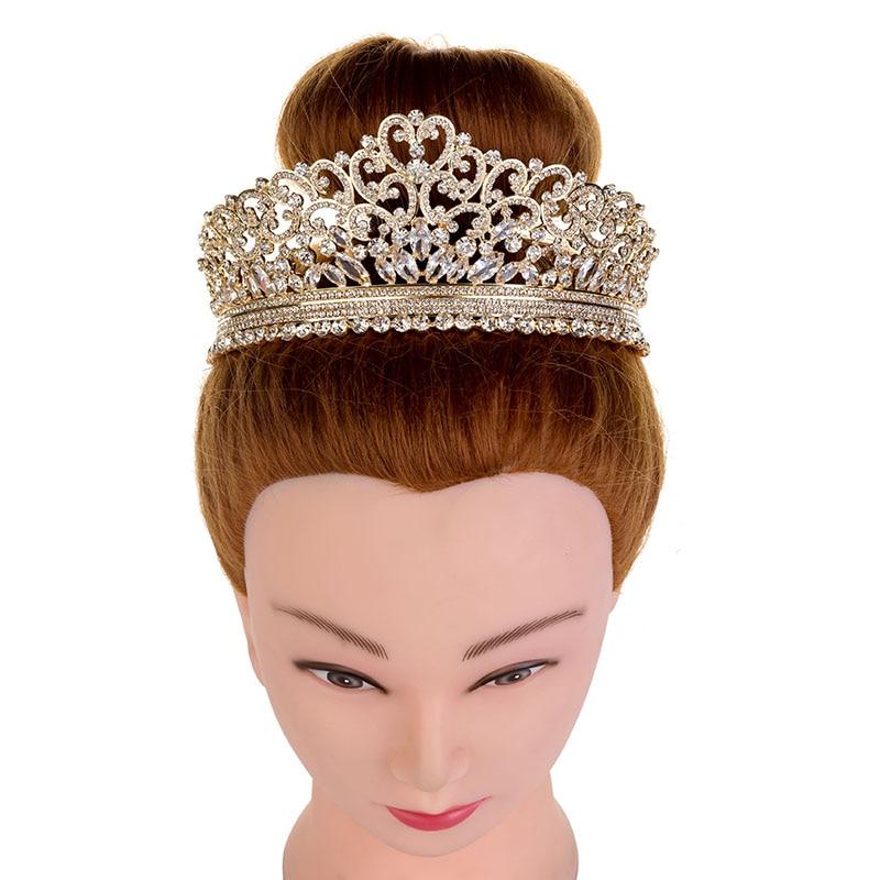 Hadiyana Wedding Bridal Crowns Rhinestone Crystal Gold Shine Tiaras And High Quality Adult Wedding Crown Accessories Prom BC3712