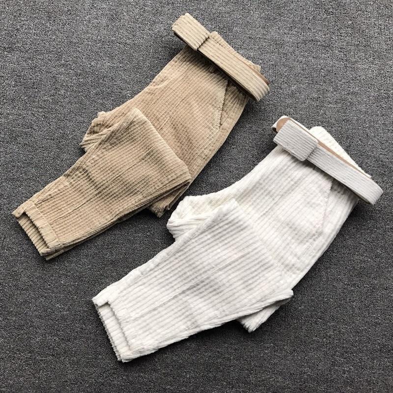 Autumn Fashion Corduroy Pants Women Pantalon Femme Casual Harem Pants Belt Sweatpants High Quality Trousers Women Clothes C4961