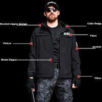Shark Skin Soft Shell Military Tactical Jacket Men Waterproof Army Fleece Clothing Multicam Windbreakers Hunt Clothes 4XL Black