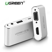 Ugreen 3 в 1 звуковая карта USB к HDMI VGA + видео конвертер Цифровой AV адаптер для iPhone 8 7 plus 6 S iPad samsung