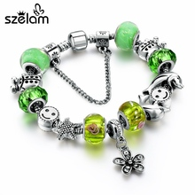 ФОТО new arrival european green crystal murano glass women bracelets with crystal flower charms femme pulseiras sbr160145