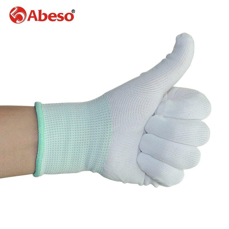 ABESO 12 pares trabajo guantes de nylon 13 tejer calibre blanco resistente al desgaste limpieza, trabajador, experimento guantes de trabajo de seguridad A7006
