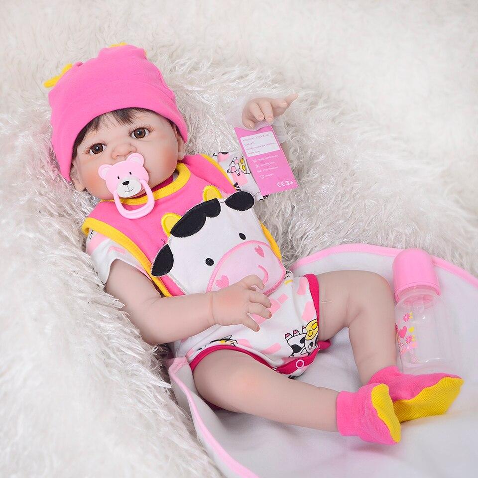 23 ''Полный Силиконовые Винил Reborn для маленьких девочек реалистичные живой новорожденных кукла с яркой кожей Этническая bebe малышей д