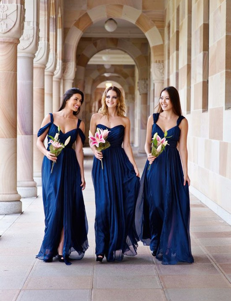 Compare prices on wedding bridesmaid dresses navy blue online elegant simple style navy blue bridesmaid dresses 2017 sweetheart long chiffon bridesmaid dresses woman wedding party ombrellifo Choice Image