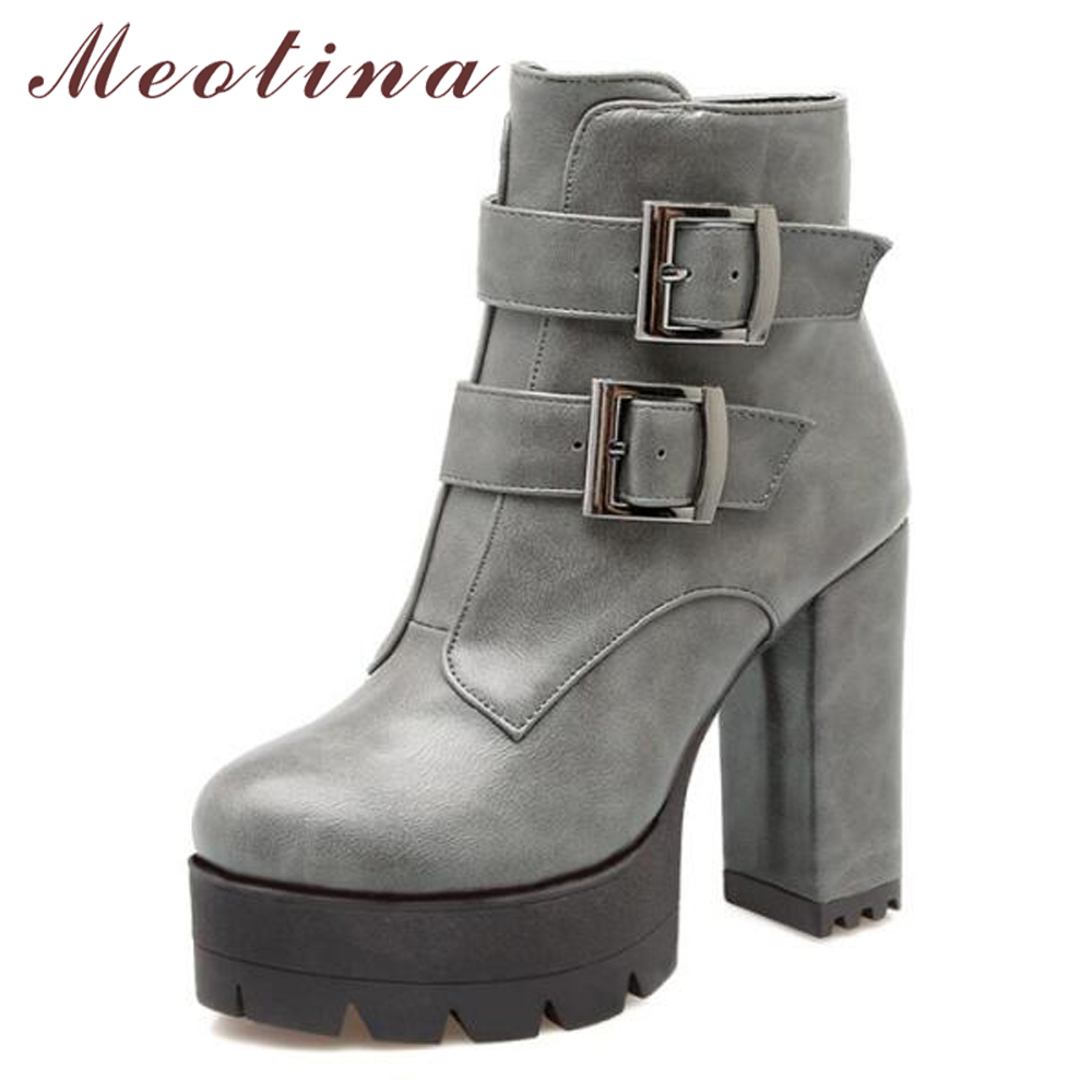 Meotina Winter Ankle Boots Women Motorcycle Boots Fashion Platform Leather Buckle High Heel Martin Boots Red Gray Red Size 9 10 lin king womens faux leather ankle boots platform high heel booties for women fashion buckle winter dress shoes martin boots